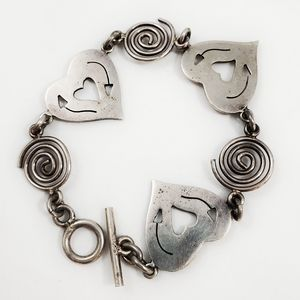 Taxco Sterling Silver Heart And Swirl Bracelet